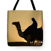 Man On Camel At Dusk Near The Pyramids Tote Bag