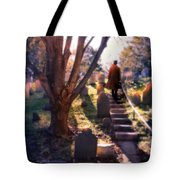 Man On Cemetery Steps Tote Bag