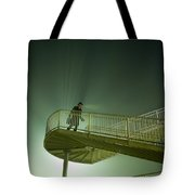 Man On Stairs With Case In Fog Tote Bag
