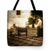 Man On The Bench Tote Bag
