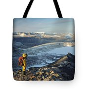 Man Overlooking Olympus Range Antarctica Tote Bag