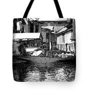 Man Plying A Small Boat Laden With Vegetables In The Dal Lake Tote Bag