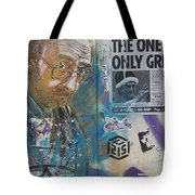 Man Portrait And Collage By C215 Tote Bag
