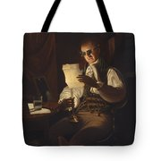 Man Reading By Candlelight Tote Bag