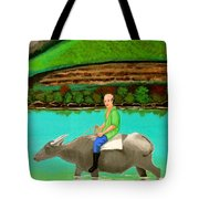 Man Riding A Carabao Tote Bag