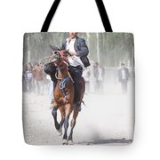 Man Riding A Horse At Kashgar Sunday Market China Tote Bag