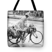 Man Riding Bicycle Carrying Chickens Tote Bag