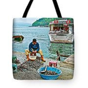 Man Selling Fresh Mussels On The Bosporus In Istanbul-turkey  Tote Bag