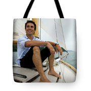 Man Smiling On Sailboat, Casco Bay Tote Bag