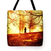 Man Standing In Front Of A Blazing Forest Fire Tote Bag