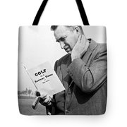 Man Studying A Golf Book Tote Bag