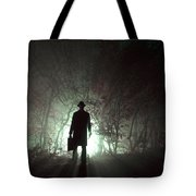 Man Waiting In Fog With Case Tote Bag