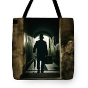 Back View Of A Victorian Man Wearing Top Hat And Long Coat In The Alley Tote Bag