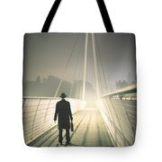 Man With Case On Bridge Tote Bag