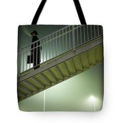 Man With Case On Steps Nighttime Tote Bag
