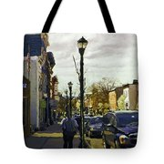Man With Guitar On Warren Tote Bag
