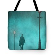 Man With Hat And Overcoat Carrying A Briefcase In Fog Tote Bag