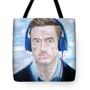 Man With Headphones Tote Bag