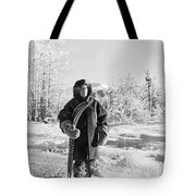 Man With Parka And Snowshoes Tote Bag