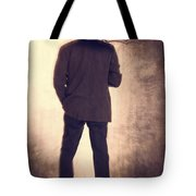 Man With Vintage Umbrella Tote Bag