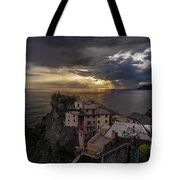 Manarola Sunset Storm Tote Bag