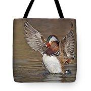 Mandarin Duck Flapping Away Tote Bag