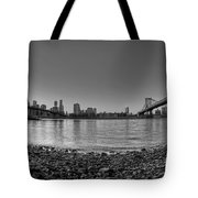 Manhattan And Brooklyn Bridge Fisheye Bw Tote Bag