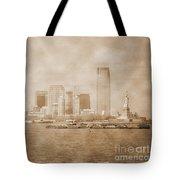 Manhattan And Liberty Island Vintage Tote Bag