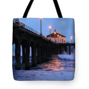 Manhattan Beach Pier Crashing Surf Tote Bag
