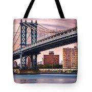 Manhattan Bridge Under A Purple Sunset Tote Bag