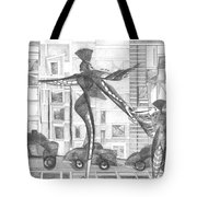 Manhattan Mother Hailing Cab With Daughter Tote Bag