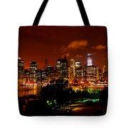 Manhattan Night Skyline Tote Bag