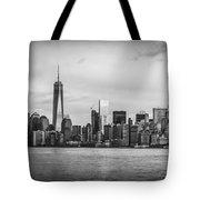 Manhattan Skyline Black And White Tote Bag