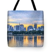 Manhattan Skyline From Central Park Reservoir Nyc Usa Tote Bag