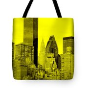 Manhattan Skyline In Yellow Tote Bag