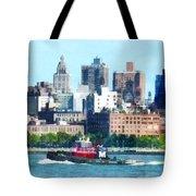 Manhattan - Tugboat Against Manhattan Skyline Tote Bag