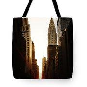 Manhattanhenge Sunset And The Chrysler Building  Tote Bag