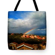 Spanish Landscape Rainbow And Ocean View Tote Bag