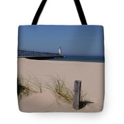 Manistee Harbor Lighthouse From Beach Tote Bag