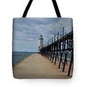 Manistee Lighthouse And Walkway Tote Bag