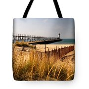 Manistee Lighthouse Tote Bag by Crystal Nederman
