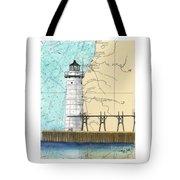 Manistee N Pierhead Lighthouse Mi Nautical Chart Map Art Tote Bag