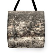 Manitou To The South In Snow Close Up Tote Bag