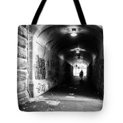 Man's Silhouette In Urban Tunnel Black And White Tote Bag