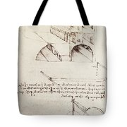 Manuscript B F 36 R Architectural Studies Development And Sections Of Buildings In City With Raise Tote Bag