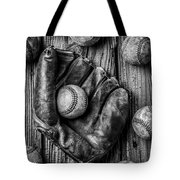 Many Baseballs In Black And White Tote Bag