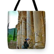 Many Photographers At Library Of Celsus-ephesus Tote Bag