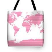 Map In Pink Stripes Tote Bag