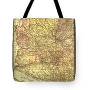 Map Of Arizona 1883 Tote Bag