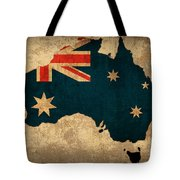 Map Of Australia With Flag Art On Distressed Worn Canvas Tote Bag